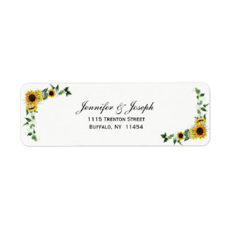 Fall Sunflower Rustic Barn Country Wedding Return Address Label
