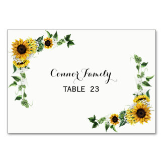 Fall Sunflower Rustic Barn Wedding Table Card