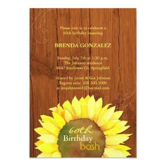 Fall Sunflowers 60th Birthday Party 13 Cm X 18 Cm Invitation Card