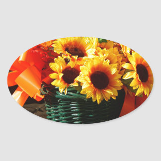 Fall Sunflowers on Antique Buggy Seat Oval Stickers