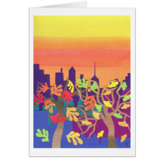 Fall Sunset over NYC Greeting Card