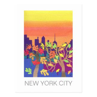 Fall Sunset over NYC Postcard