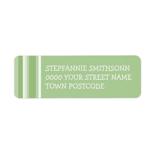 Fall Tango Stripes green Return Address Label