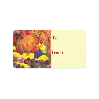 Fall Thanksgiving Harvest Gift Tag Address Label