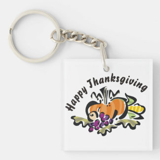 Fall Thanksgiving Harvest Double-Sided Square Acrylic Keychain