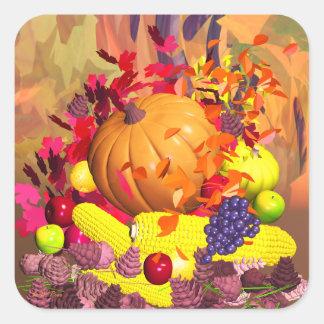 Fall Thanksgiving Harvest Square Sticker
