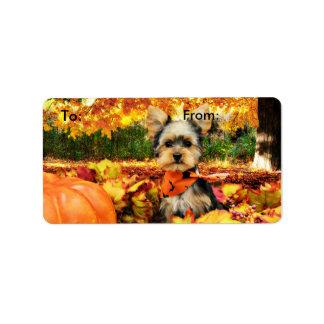 Fall Thanksgiving - Max - Yorkie Address Label