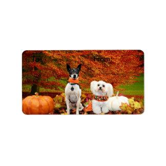 Fall Thanksgiving - Monty Fox Terrier & Milly Malt Address Label