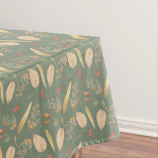 Fall Thanksgiving Nature Pattern Green Tablecover Tablecloth
