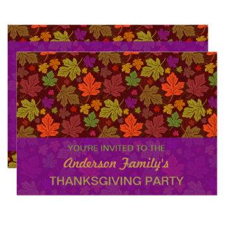 Fall Thanksgiving Party Elegant Autumn Leaves 13 Cm X 18 Cm Invitation Card