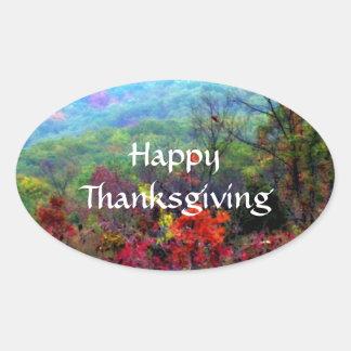 Fall Thanksgiving Photograph Oval Sticker