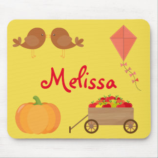 Fall Themed Apples, Pumpkins, and Brown birds Mouse Mat