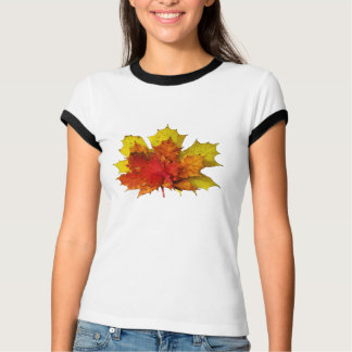Fall-Themed Women's Ringer T-Shirt - Maple Leaves