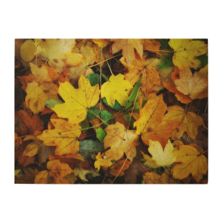 Fall-Themed Wood Wall Art - Golden Leaves Wood Print