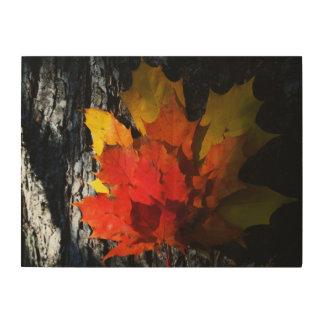 Fall-Themed Wood Wall Art - Maple Leaves Wood Prints