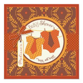 Fall Ties Autumn Damask Vine Twin Boys Baby Shower 13 Cm X 13 Cm Square Invitation Card