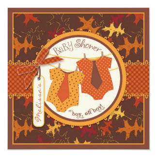 Fall Ties & Autumn Leaves Twin Boys Baby Shower 13 Cm X 13 Cm Square Invitation Card