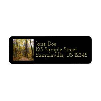Fall Trail and Golden Leaves at Laurel Hill Park Return Address Label