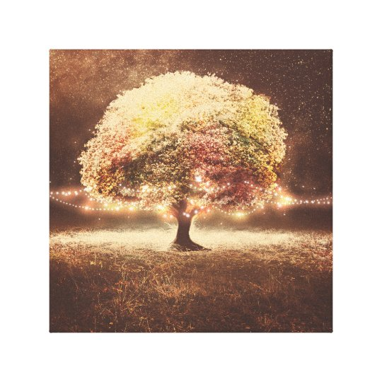 Fall Tree and Romantic Rustic String Lights Canvas