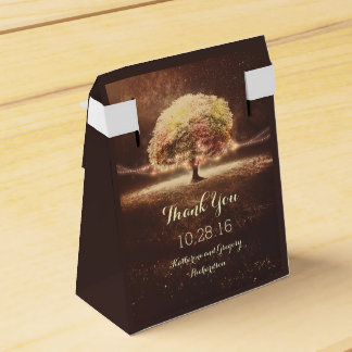 Fall Tree and Rustic String Lights Dreamy Wedding Favour Box