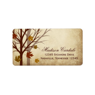 Fall Tree Autumn Wedding Return Address Labels