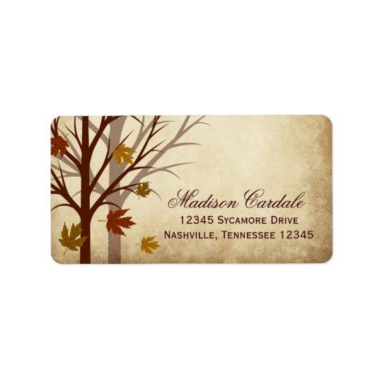 Fall Tree Autumn Wedding Return Address Labels