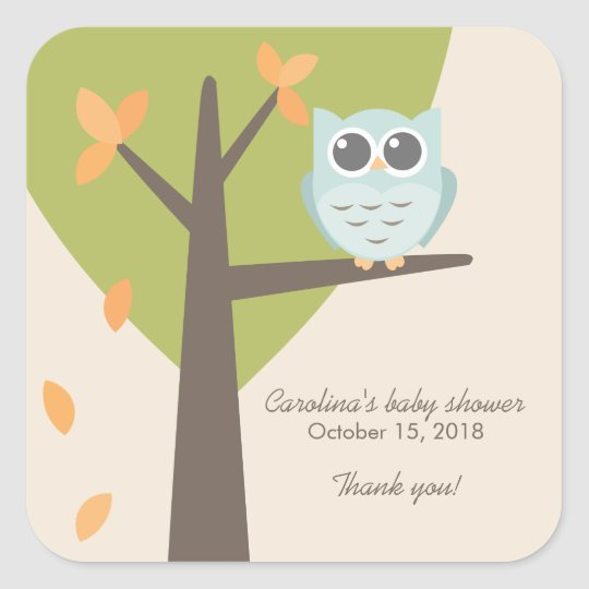 Fall Tree Branch Blue Owl Baby Shower Favour