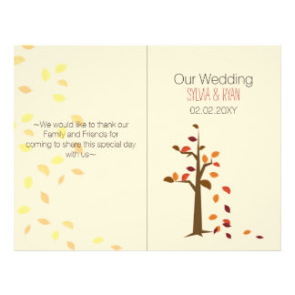 Fall tree, fall  bi fold Wedding program 21.5 Cm X 28 Cm Flyer