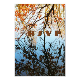 Fall Tree Reflections Wedding RSVP Cards 9 Cm X 13 Cm Invitation Card