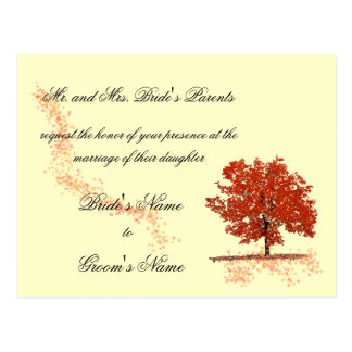 Fall tree Wedding Invitation postcard. Postcard
