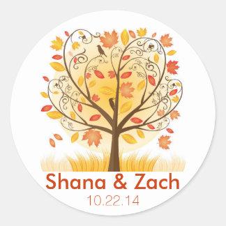 Fall Tree Wedding Sticker - Autumn Wedding Labels