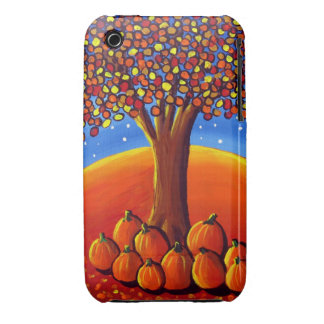 Fall Tree With Pumpkins Folk Art iPhone Case iPhone 3 Cover