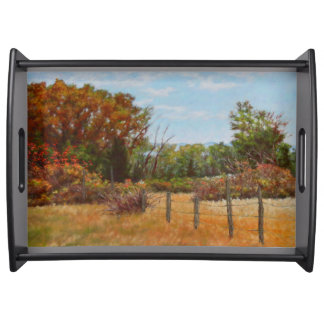 Fall Trees and Red Bushes w Fence Serving Tray