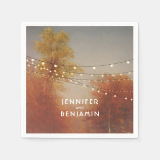 Fall Trees Rustic Country Wedding Paper Napkins