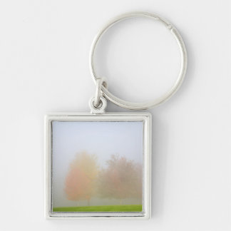 Fall trees shrouded in mist key ring