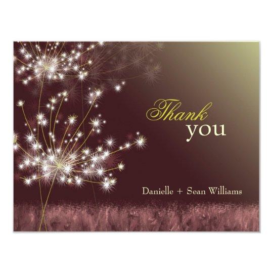 Fall Twilight Dandelion Wedding Thank You Card