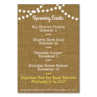 Fall Upcoming Events Church Table Card