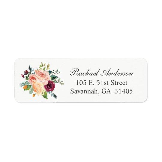 Fall Watercolor Floral Bouquet Return Address Label