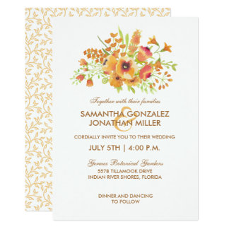Fall Watercolor Floral Wedding Invitation