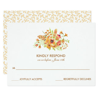 Fall Watercolor Floral Wedding RSVP Cards