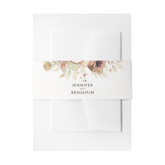 Fall Watercolor Flowers Vintage Wedding Invitation Belly Band