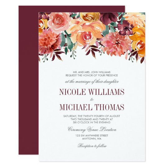 Fall Watercolor Flowers Wedding Invitations