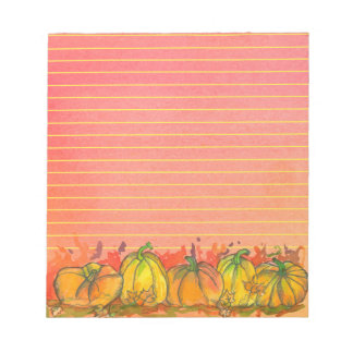 Fall Watercolor Pumpkins Lined Notepad