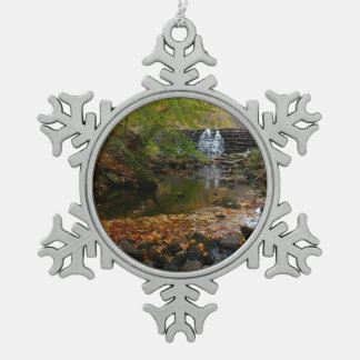 Fall Waterfall and Creek Pennsylvania Nature Photo Snowflake Pewter Christmas Ornament