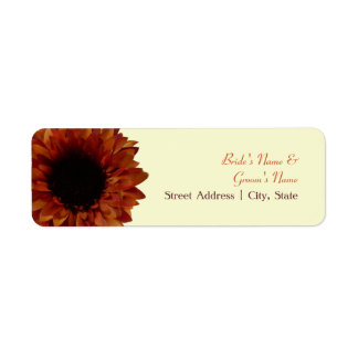 Fall Wedding Address Label - Orange Sunflower