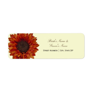 Fall Wedding Address Label - Orange Sunflower