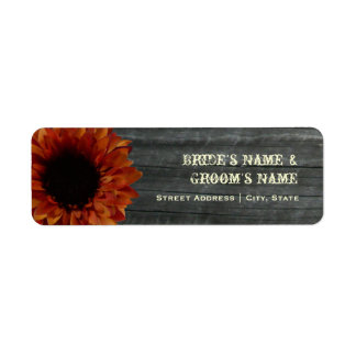 Fall Wedding Address Label - Sunflower & Barnwood