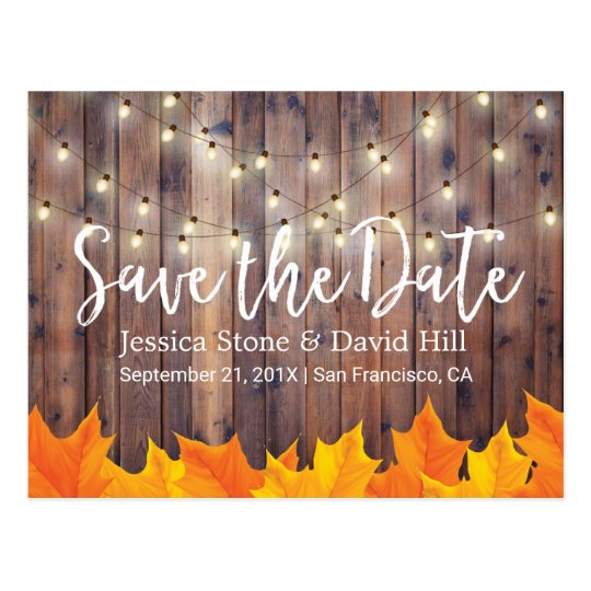 Fall Wedding Autumn Leaves Barn Wood Save the