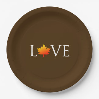 Fall Wedding Autumn Love Rustic Orange Leaf Brown 9 Inch Paper Plate