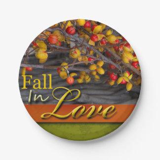 Fall Wedding Colors Rustic Autumn Scene Love 7 Inch Paper Plate